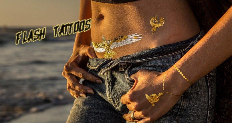 La moda de tatuajes temporales metalizados que las modelos y celebridades están usando