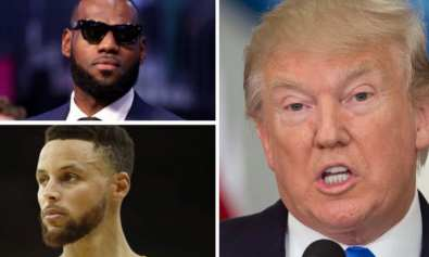 foto referencial . Donald Trump, LeBron Jame y Stephen Curry