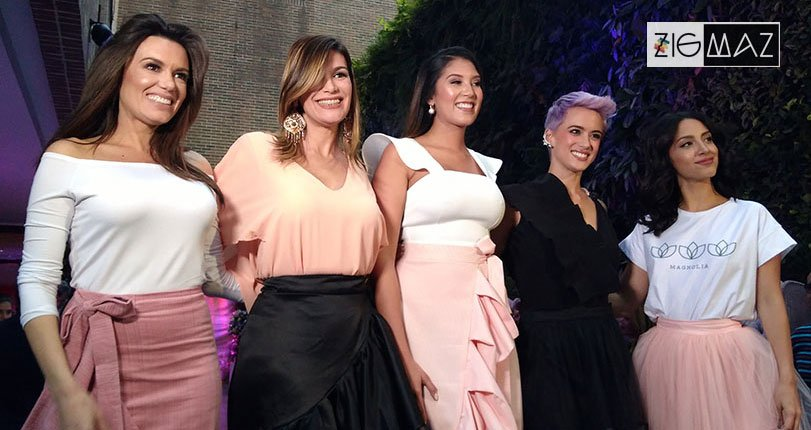 Melisa Rauseo, Eyla Adrian Daniela Peña Valeria Valle y Natalia Morettig, en el lanzamiento de la colección Solsticio de Magnolia