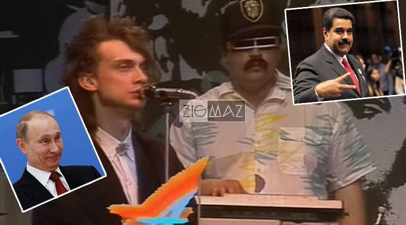 Vladimir Putin y Nicolás Maduro en banda de synth pop 80s